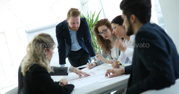 Group of architects working on business meeting - Stock Photo - Images
