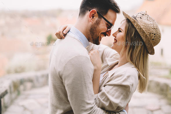 True love soulmates intimate at park and happy - Stock Photo - Images