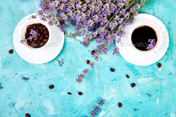 Coffee and lavender flower on blue background from above. - Stock Photo - Images