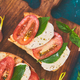 Bruschetta with tomatoes, mozzarella cheese and basil - PhotoDune Item for Sale