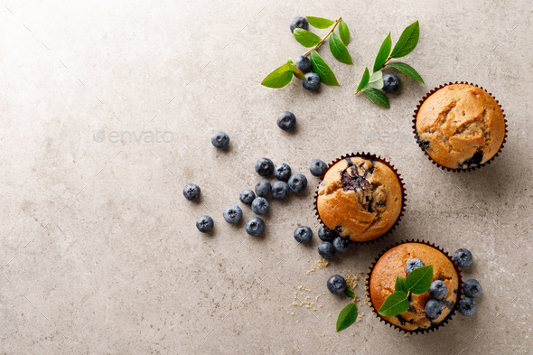 Blueberry muffins with fresh berries, top view - Stock Photo - Images