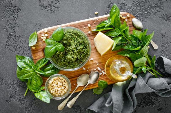 Traditional italian pesto alla genovese - Stock Photo - Images