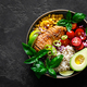 Grilled chicken breast lunch bowl with fresh tomato, avocado, corn, red onion, rice and basil - PhotoDune Item for Sale