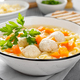 Hot chicken soup, broth with meatballs, carrot, pasta and fresh parsley - PhotoDune Item for Sale