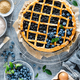 Traditional homemade american blueberry pie with lattice pastry, top view - PhotoDune Item for Sale