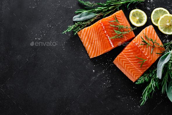 Salmon. Fresh raw salmon fish fillet - Stock Photo - Images