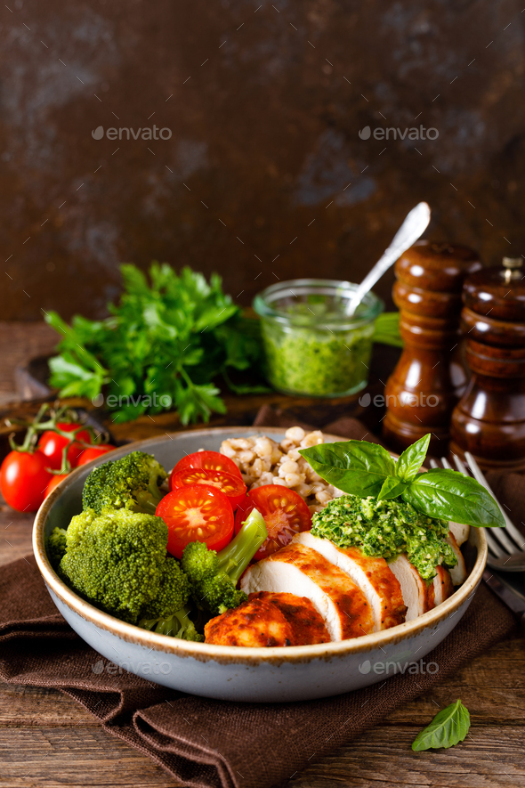Chicken lunch bowl with broccoli - Stock Photo - Images