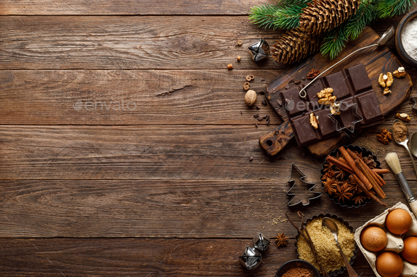 Christmas or new year culinary rustic wooden background - Stock Photo - Images