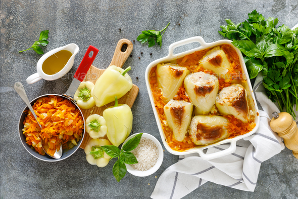 Stuffed pepper baked with meat and rice, overhead view - Stock Photo - Images