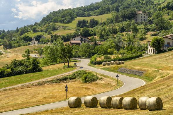 Springtime landscape near Bardi, Parma - Stock Photo - Images