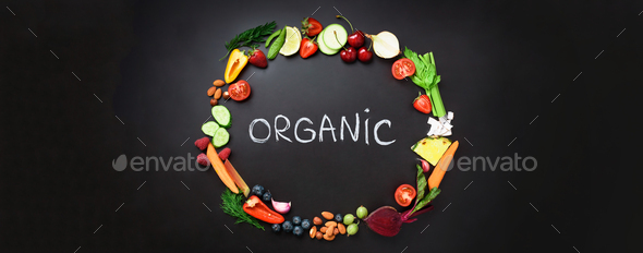 Healthy food background. Circle of fresh vegetables, fruits, nuts, berries with handwritten phrase - Stock Photo - Images