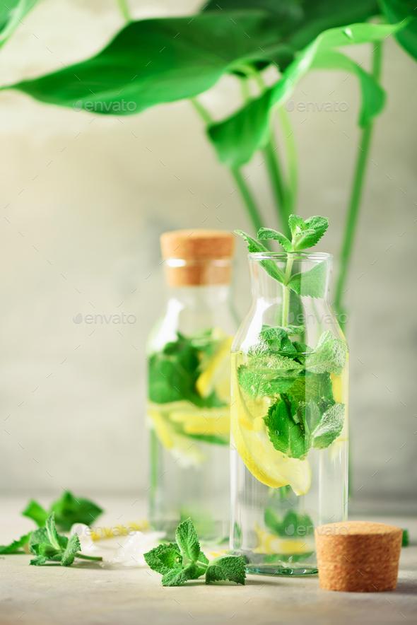 Citrus lemonade - mint, lemon and tropical monstera leaves on grey background. Detox drink. Summer - Stock Photo - Images