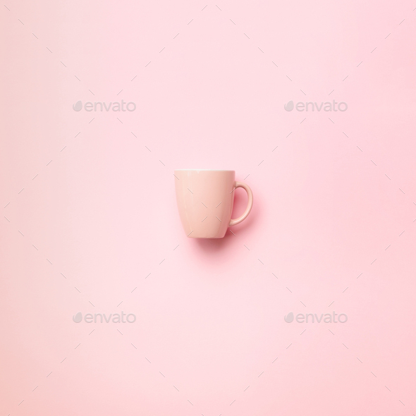 Pink cup over punchy background. Square crop. Birthday party celebration, baby shower concept - Stock Photo - Images
