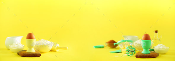 Banner with copy space. Bakery food frame, cooking concept. Different baking ingredients - butter - Stock Photo - Images