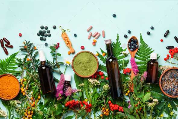 Alternative medicine. Holistic approach. Healing herbs and flowers over blue background. Top view - Stock Photo - Images