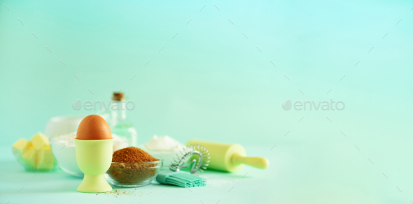Banner. Bakery food frame, cooking concept. Different baking ingredients - butter, sugar, flour - Stock Photo - Images