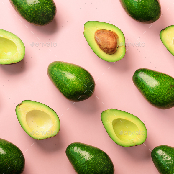 Avocado pattern on pink background. Top view. Banner. Pop art design, creative summer food concept - Stock Photo - Images