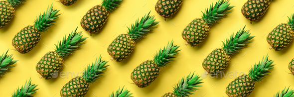 Chaotic pineapple pattern for minimal style. Top View. Pop art design, creative concept. Copy Space - Stock Photo - Images