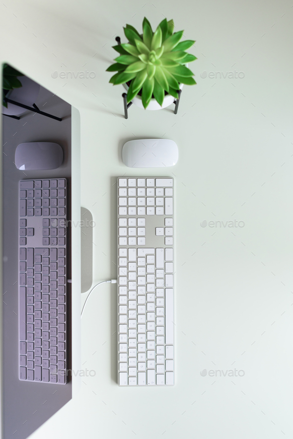 White office desk table with computer keyboard, mouse, monitor, succulent plant and other office - Stock Photo - Images