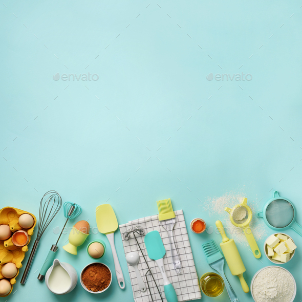 Square crop. Baking ingredients - butter, sugar, flour, eggs, oil, spoon, rolling pin, brush, whisk - Stock Photo - Images