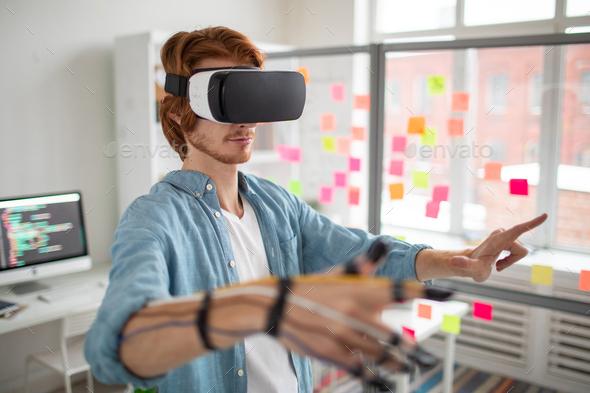 Man at virtual conference - Stock Photo - Images