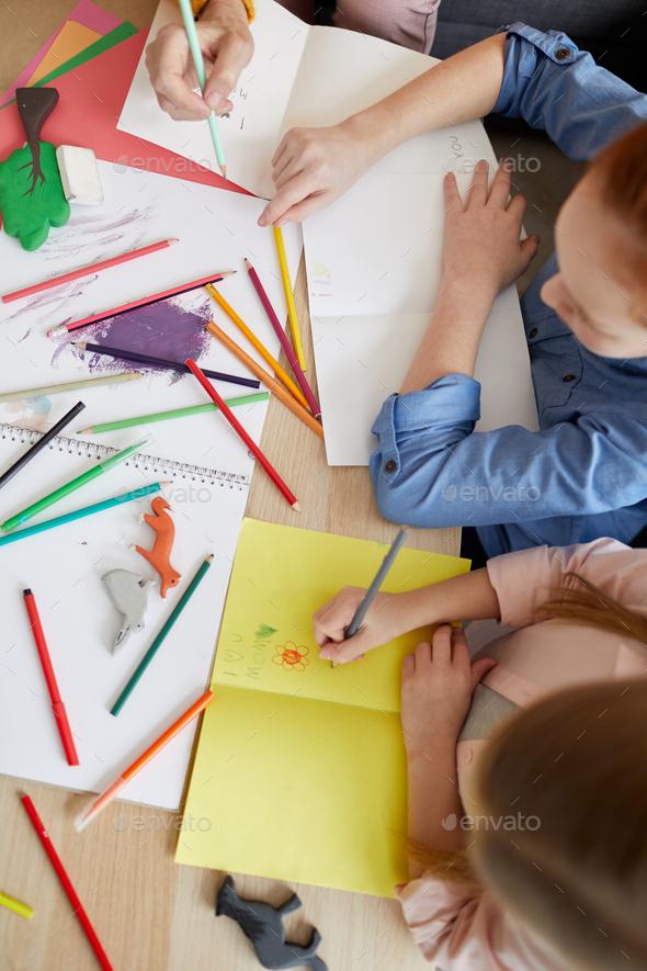 Girls Making Handmade Cards - Stock Photo - Images