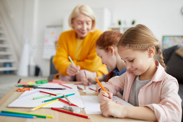 Cute Girl Drawing at Home - Stock Photo - Images
