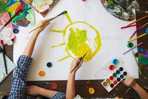 Kids Painting Sun Above View - Stock Photo - Images