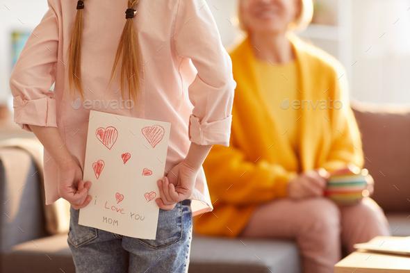 Girl Hiding Handmade Card - Stock Photo - Images