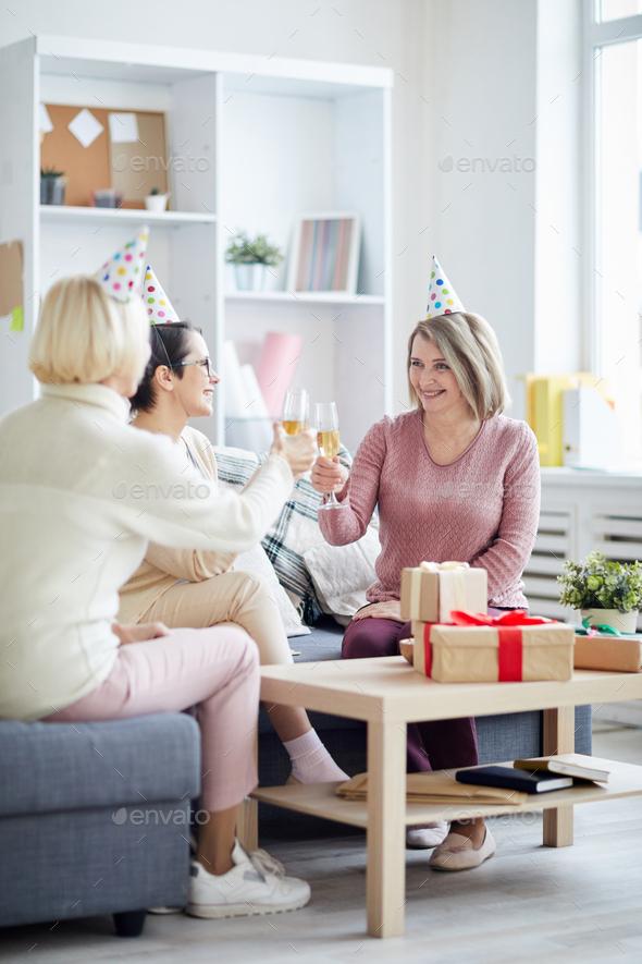 Three Women Celebrating Birthday - Stock Photo - Images