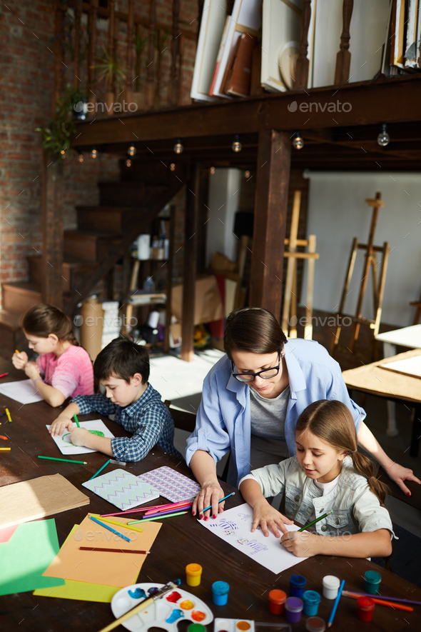 Kids in Art Studio High Angle - Stock Photo - Images