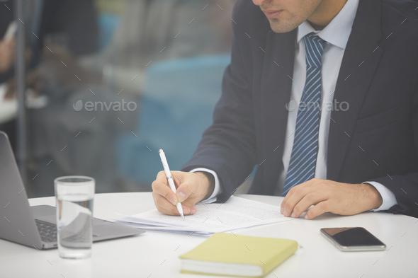 Unrecognizable Businessman Writing - Stock Photo - Images