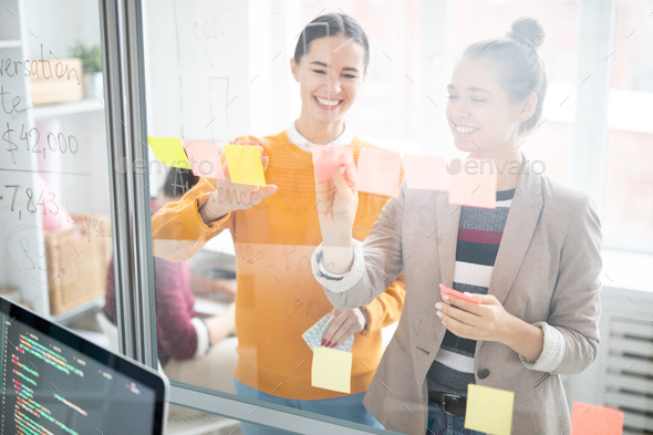 Sticking working notes - Stock Photo - Images