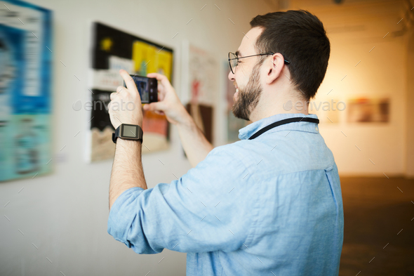 Museum Visitor Taking Photo of Painting - Stock Photo - Images