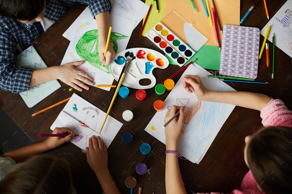 Group of Children Drawing Above View - Stock Photo - Images