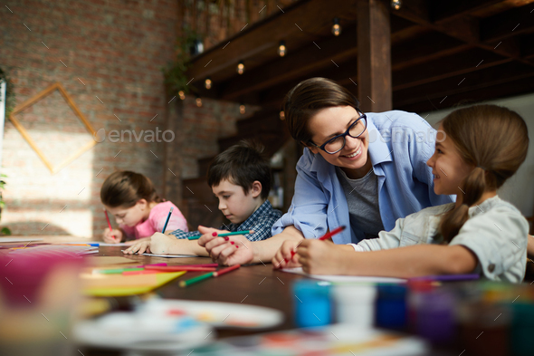 Group of Children in Art Class - Stock Photo - Images