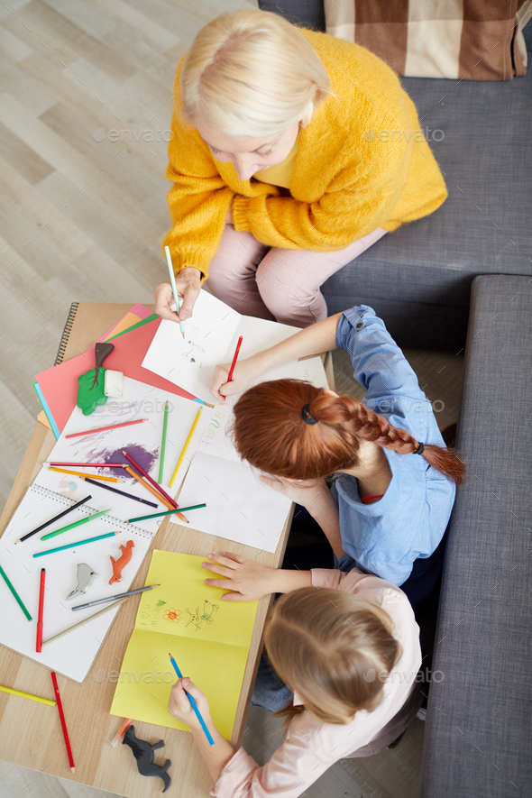 Two Girls Making Handmade Cards - Stock Photo - Images