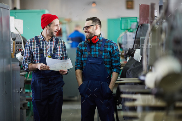 Two Workers in Industrial Workshop - Stock Photo - Images