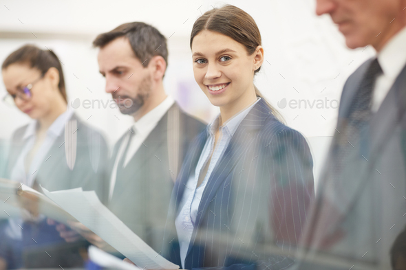 Business People Standing in Row - Stock Photo - Images