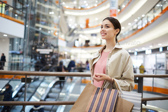 Cheerful girl ready for shopping - Stock Photo - Images