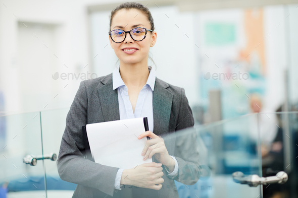 Confident Businesswoman Posing in Office - Stock Photo - Images
