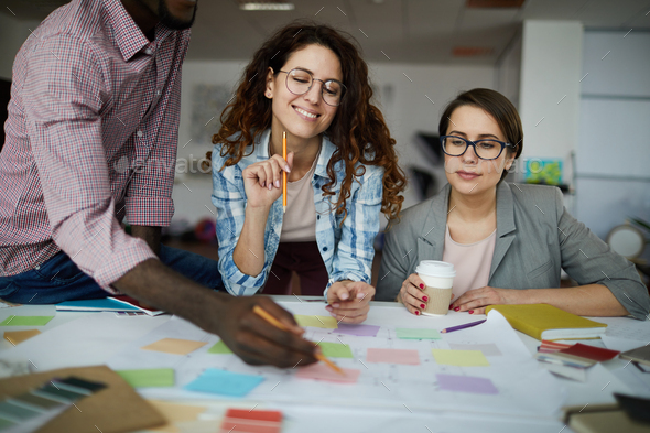 Contemporary Business Team Planning Work - Stock Photo - Images