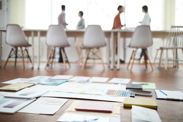 Project Plans on Floor in Office - Stock Photo - Images