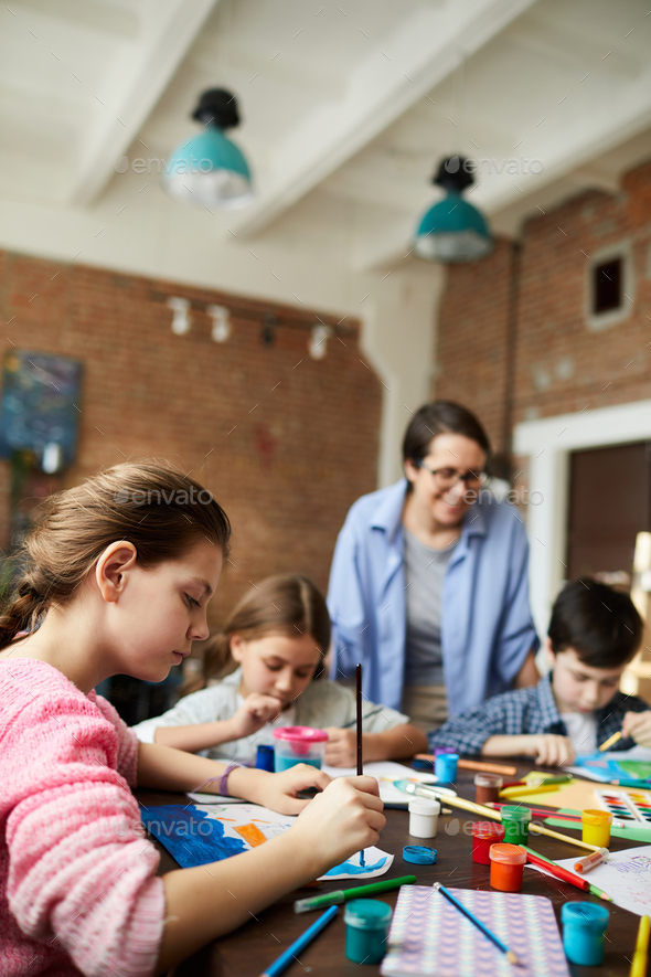 Children painting in Art Class - Stock Photo - Images