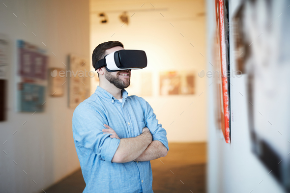 Man in VR Museum - Stock Photo - Images