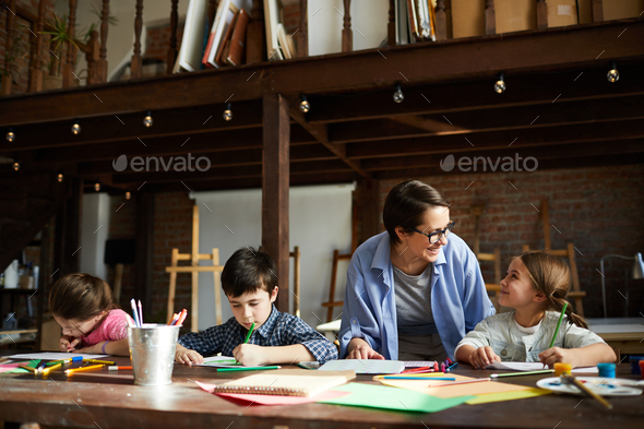Art Teacher with Group of Kids - Stock Photo - Images
