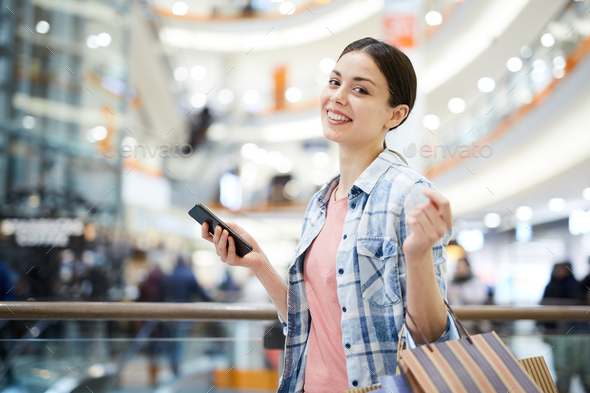 Lady satisfied with shopping - Stock Photo - Images