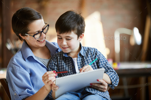 Modern Mother and Son Drawing - Stock Photo - Images