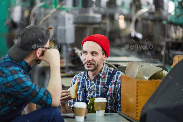 Two Workers on Lunch Break - Stock Photo - Images