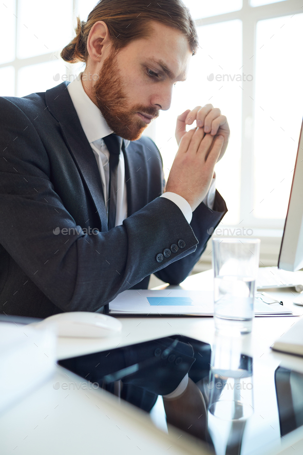 Man working with document - Stock Photo - Images